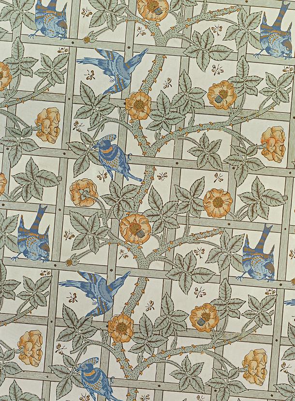 Обои Trellis (первый орнамент для обоев Морриса) из прихожей Станден-хауса в графстве Сассекс