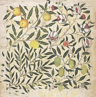 Архивный образец обоев с изображением гранатов, лимонов и оливок, 1862 год.
