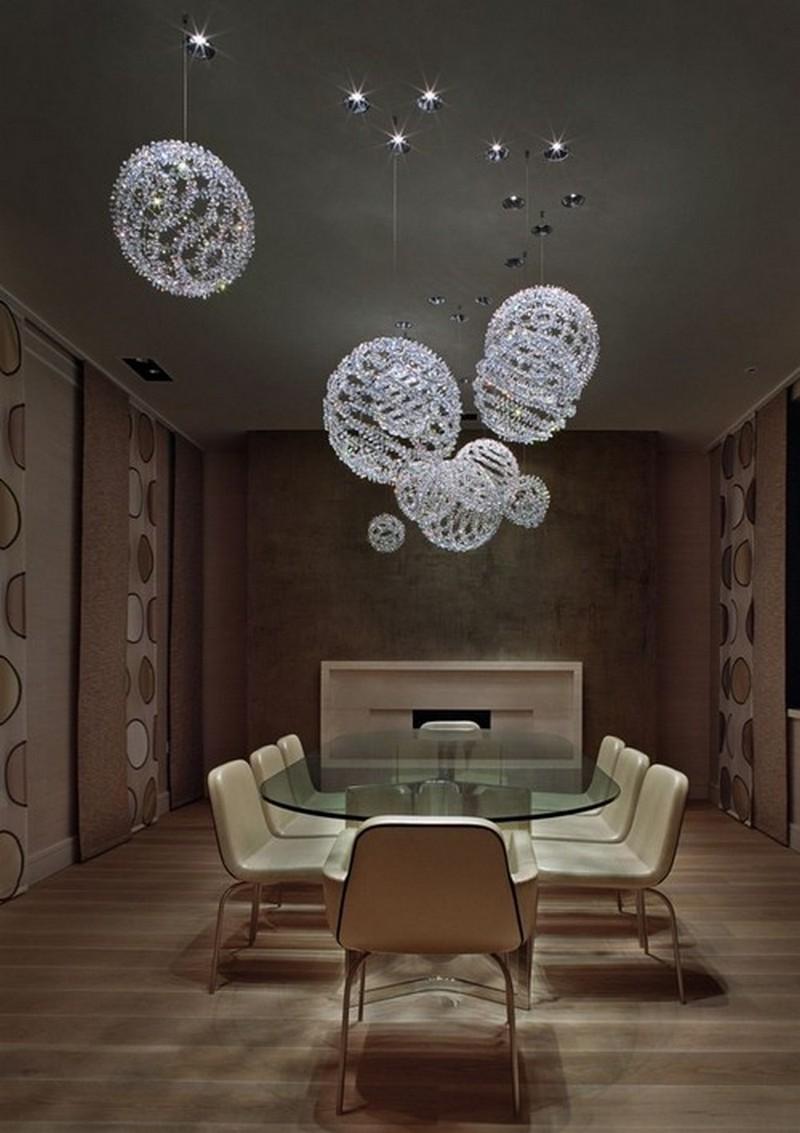 подвесные светильники в интерьере 7