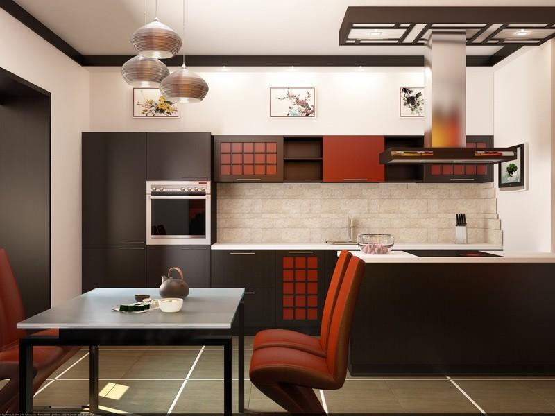 Оригинальный интерьер кухни в японском стиле 1