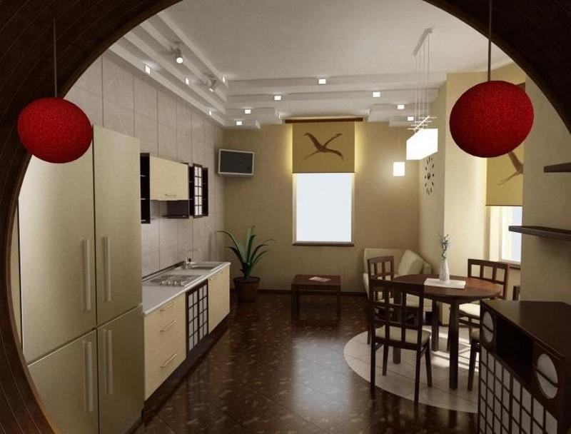 Оригинальный интерьер кухни в японском стиле 6