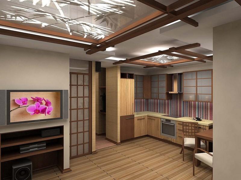 Оригинальный интерьер кухни в японском стиле 7
