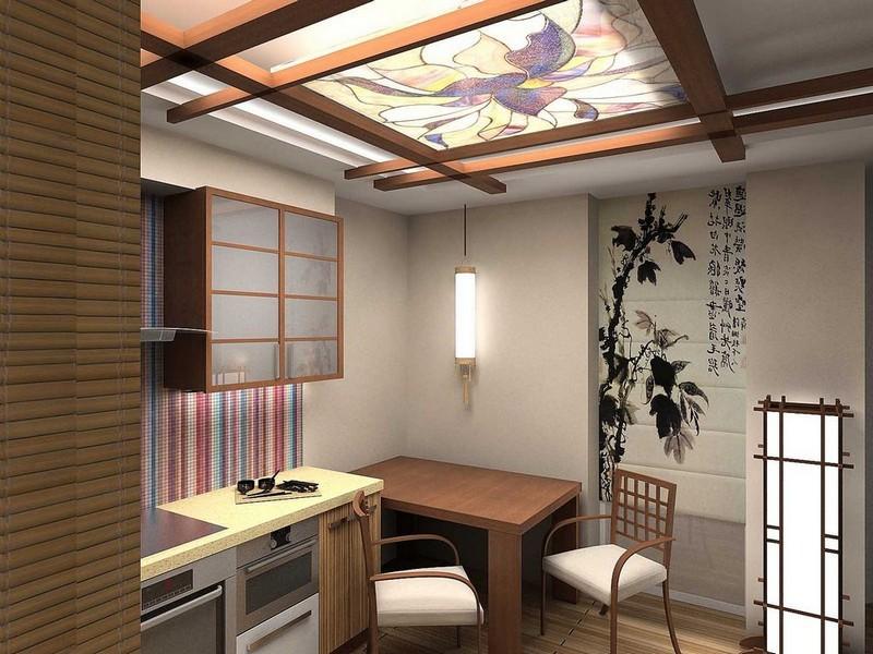 Оригинальный интерьер кухни в японском стиле 9