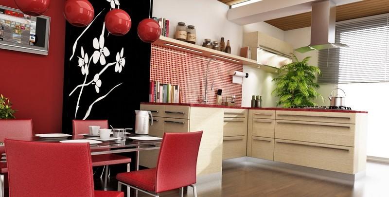 Оригинальный интерьер кухни в японском стиле 12