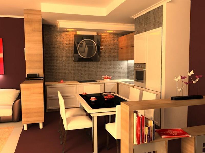 Оригинальный интерьер кухни в японском стиле 16