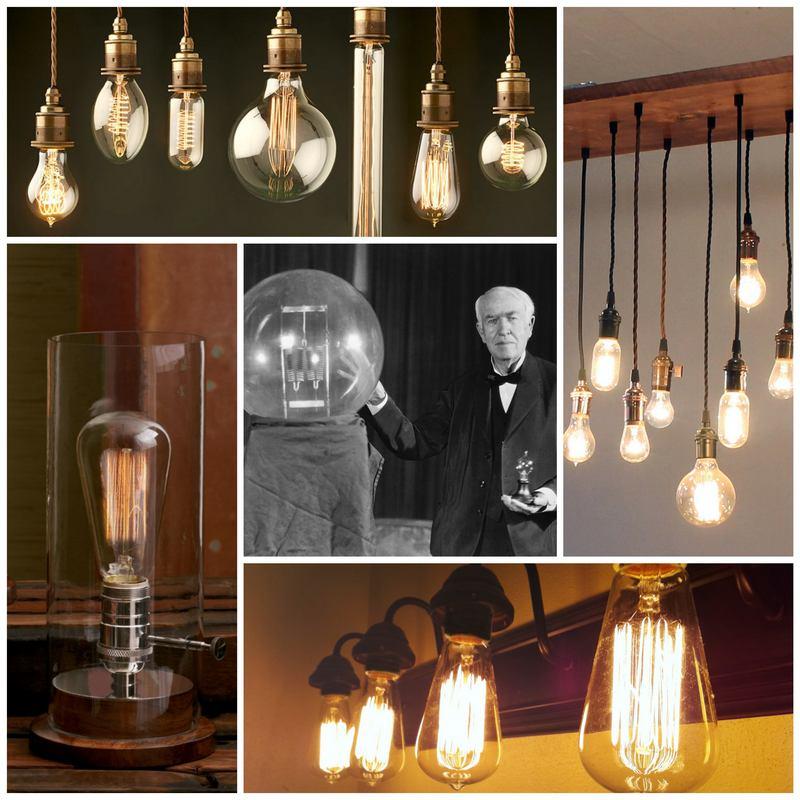 Лампочки Эдисона ретро-стиль в современном жилье