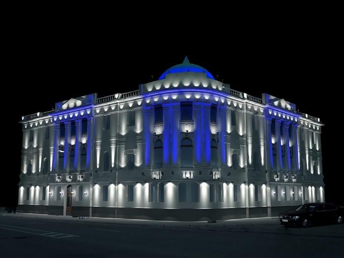 Красивое наружное архитектурное освещение зданий 2