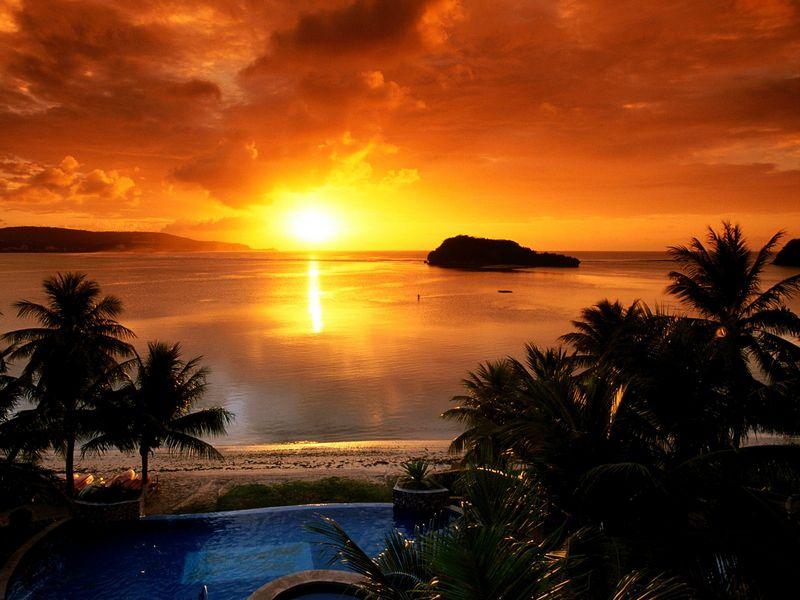 Красивые фото заката солнца - Agana Bay at Sunset, Tamuning, Guam