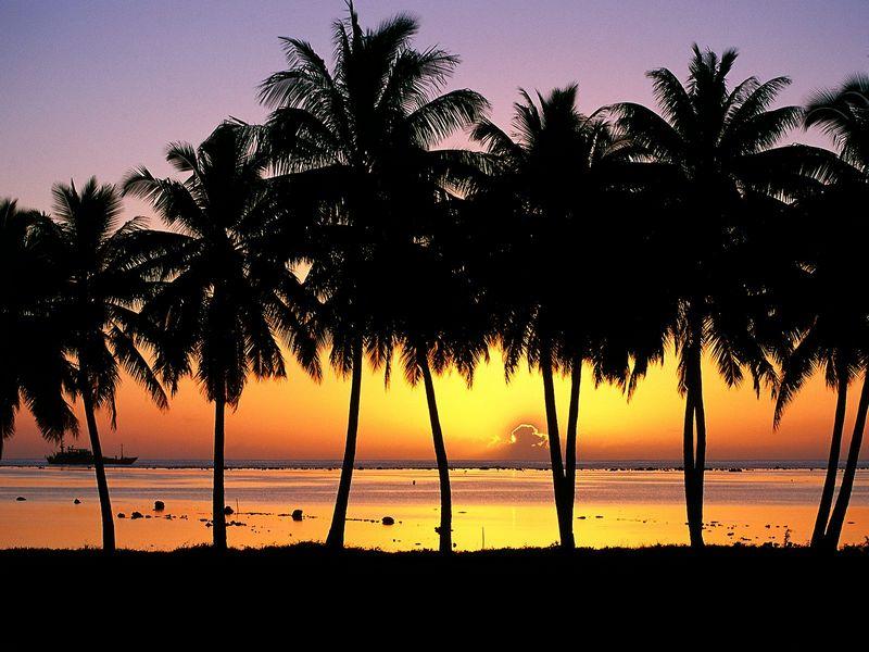 Красивые фото заката солнца aitutaki island