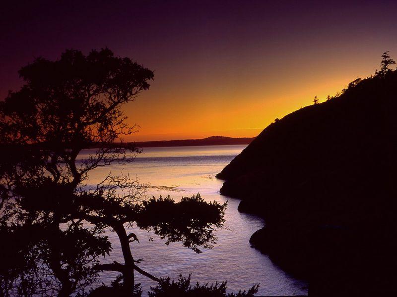 Красивые фото заката солнца - Anacortes, Fidalgo Island, Washington