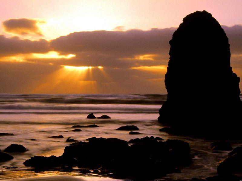 Красивые фото заката солнца - Cape Meares Sunset, Tillamook County, Oregon