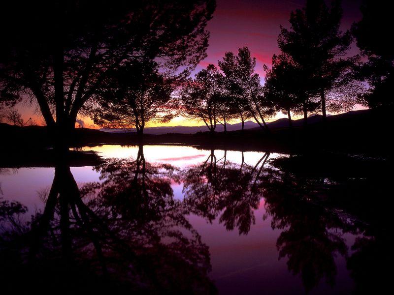 Красивые фото заката солнца - Castaic Lake Sunset, Santa Clarita, California