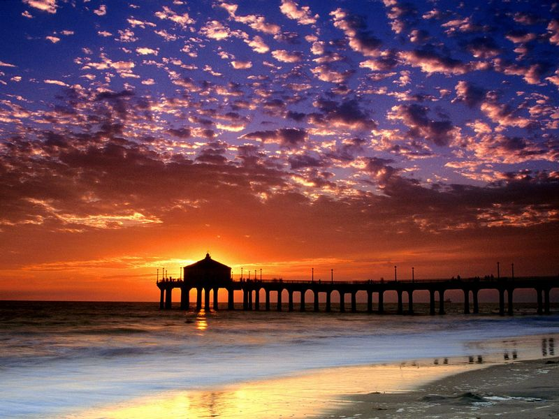 Красивые фото заката солнца - Colorful Sky, Manhattan Beach, California