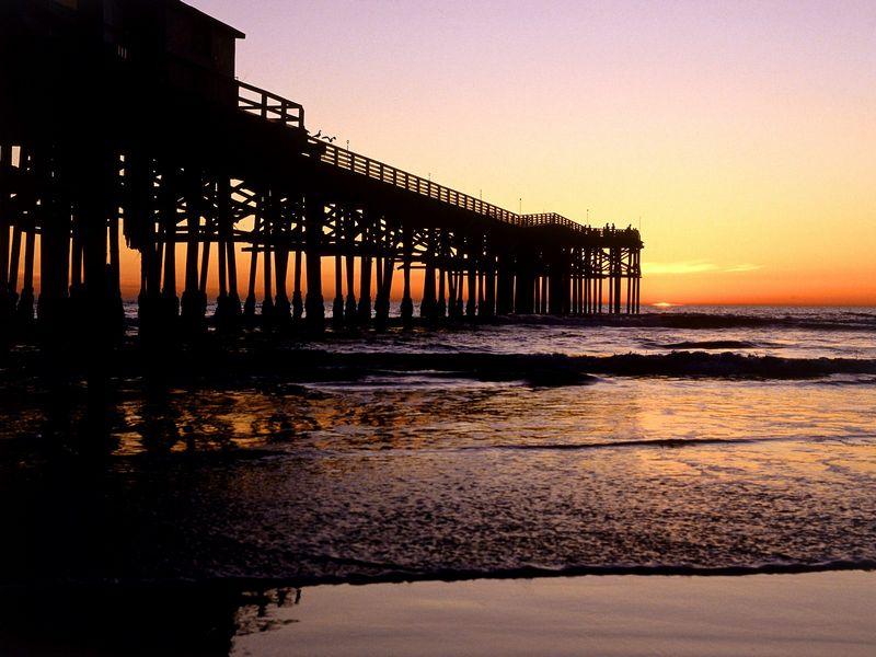 Красивые фото заката солнца - Crystal Pier, San Diego, California