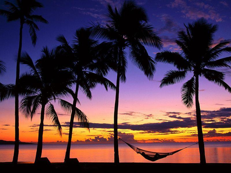 Красивые фото заката солнца - Denarau Island at Sunset, Fiji
