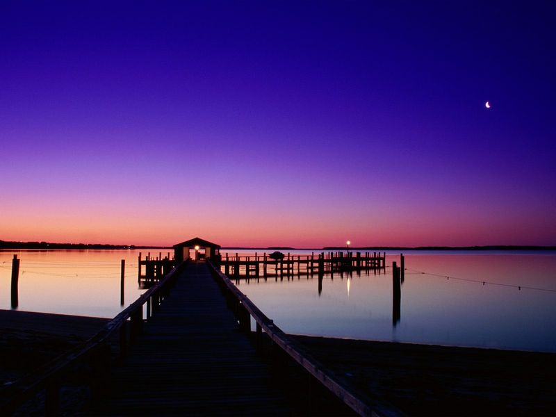 Красивые фото заката солнца - Hyannisport Harbor, Hyannisport, Massachusetts