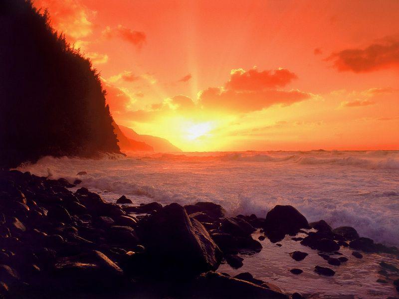 Красивые фото заката солнца - NaPali Sunset, Kauai, Hawaii