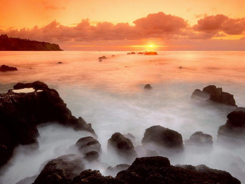 Красивые фото заката солнца - Ocean Mist, Palos Verdes Peninsula, California