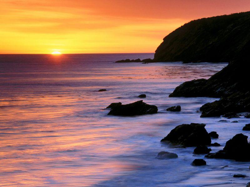 Красивые фото заката солнца - Pacific Sunset, Gaviota State Park, California
