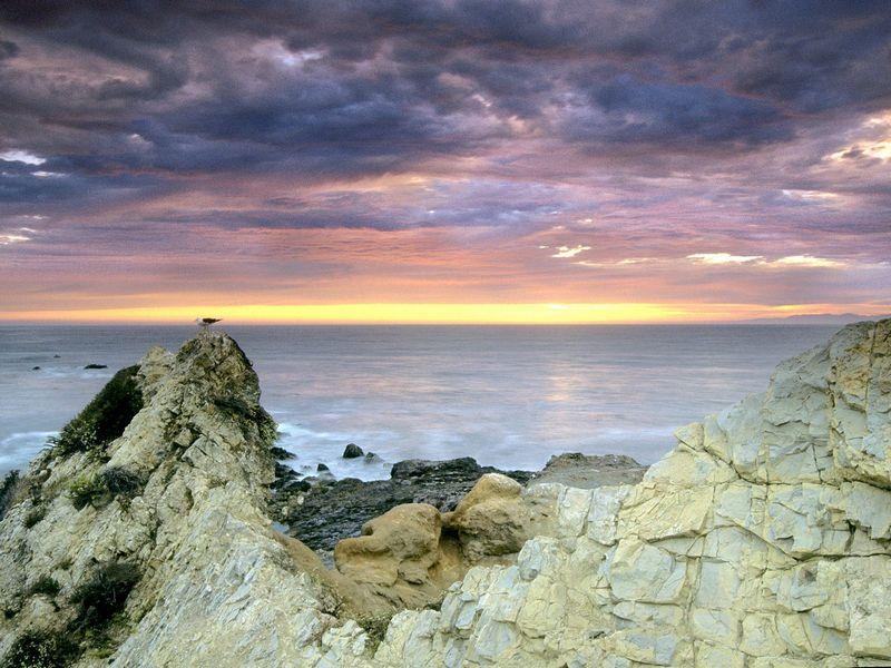 Красивые фото заката солнца - Palos Verde Peninsula, California