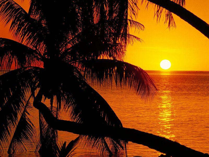 Красивые фото заката солнца - Polynesian Sunset