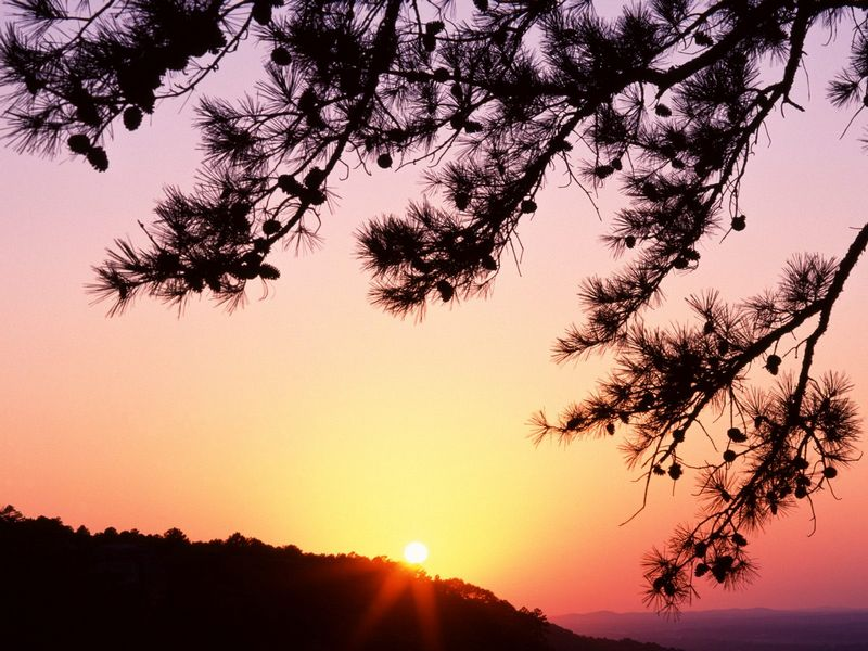 Красивые фото заката солнца - Quiet Close, Petit Jean State Park, Arkansas