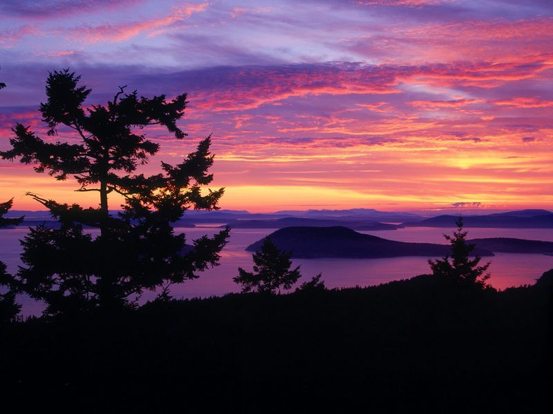 Красивые фото заката солнца - San Juan Islands at Sunset, Puget Sound, Washington