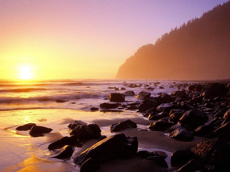 Красивые фото заката солнца - South Beach, Cape Lookout State Park, Oregon