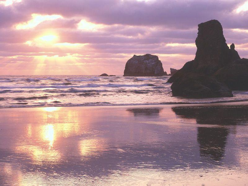 Красивые фото заката солнца - Sunset Light, Bandon, Oregon