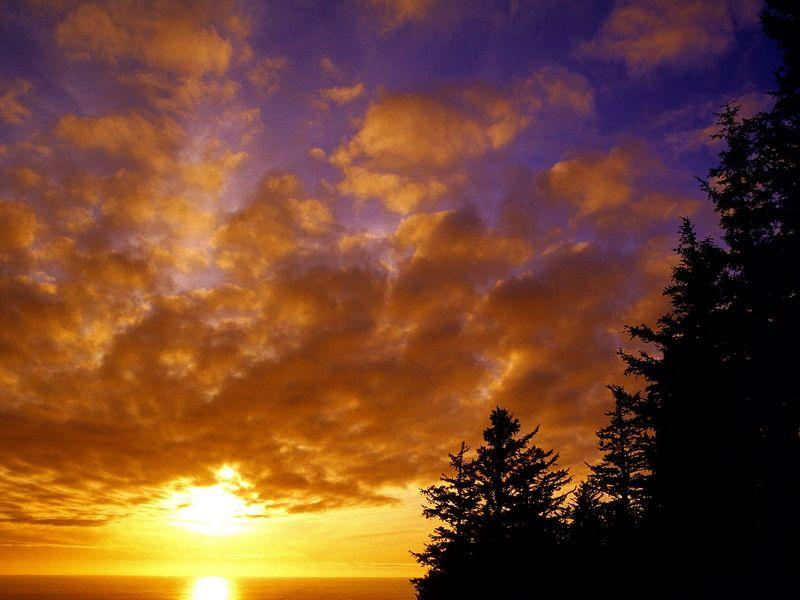Красивые фото заката солнца - Tillamook County Sunset, Oregon
