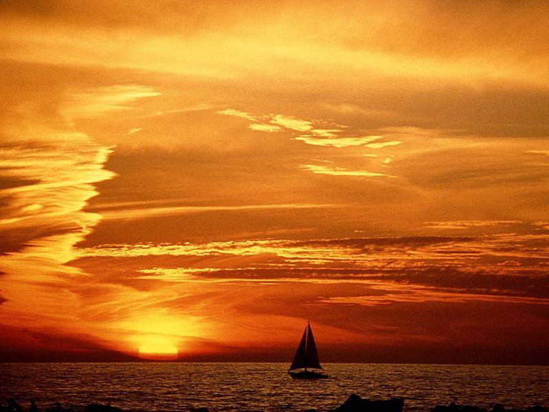 Красивые фото заката солнца - Venice Beach, California
