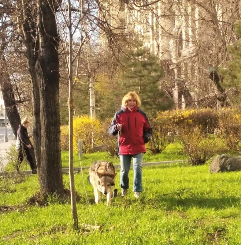 Ольга с Канисом у высотки 20 апреля 2020 4.jpg