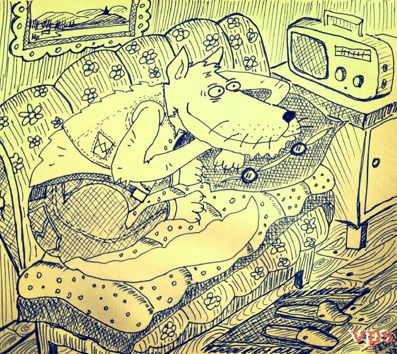 Рисунок волка карикатура автор Пётр Двойников Урал 2.jpg