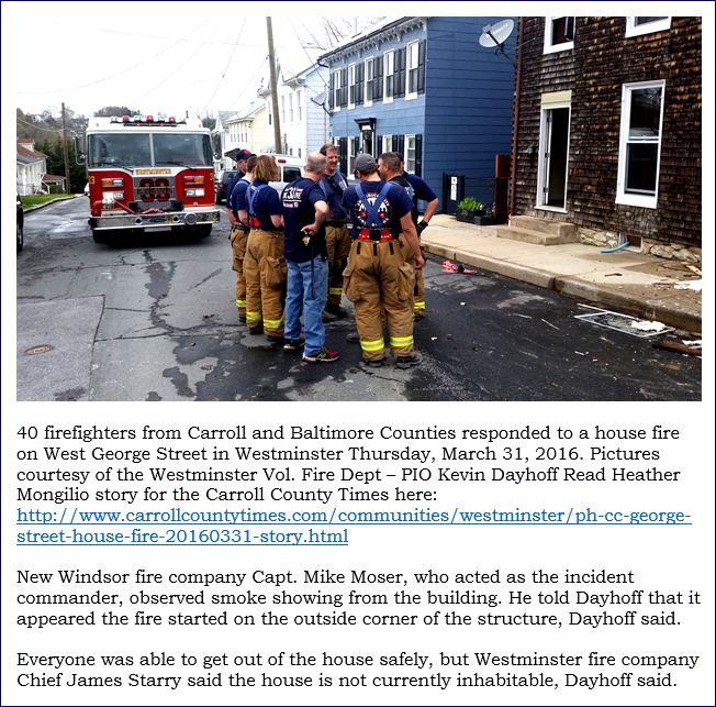 40 firefighters from Carroll and Baltimore Counties respond to