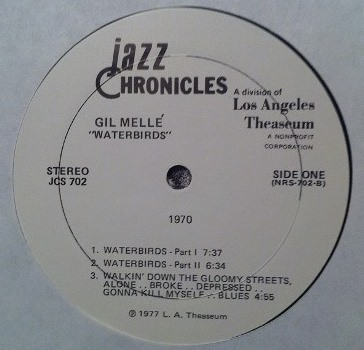 Gil Melle - Waterbirds 1970 label