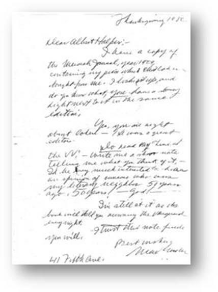 Max Gordon Letter to Albert Halper Oct 1980