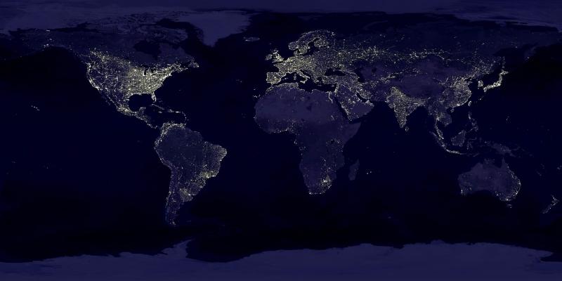 Земля ночью из космоса