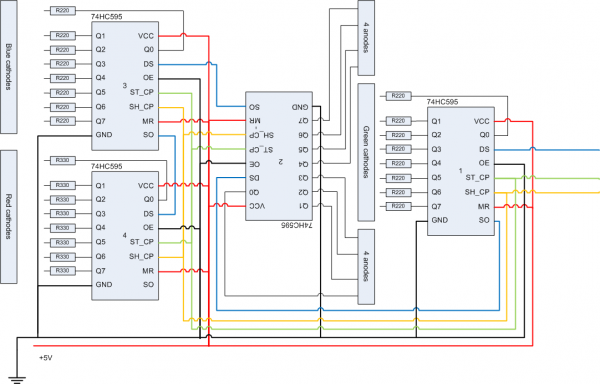 arduino - Running LED dot matrix using shift registers