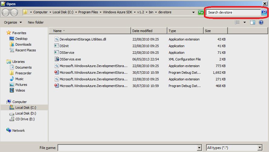 OpenFileWindows7