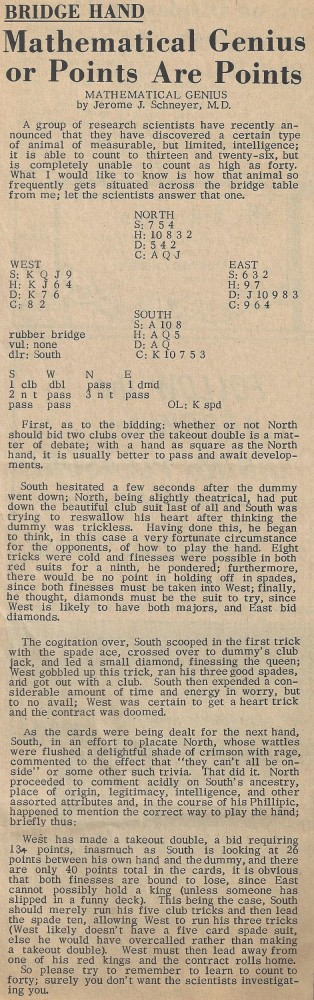 Mathematical Genius or Points Are Points 1 June 1967