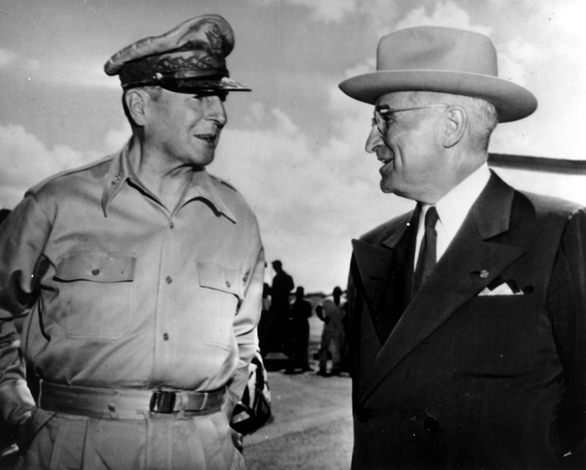 Image result for photos of harry truman and macarthur