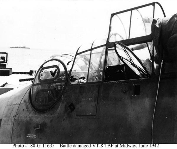Turret of damaged Avenger VT-8 4 june 1942