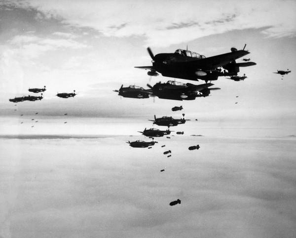 TBMs and SB2Cs dropping bombs