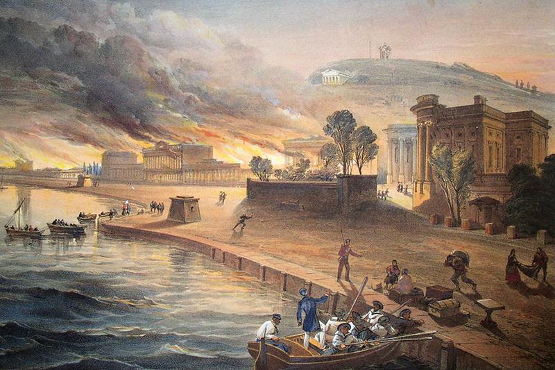 03. Уильям Симпсон. Пожар в административных зданиях Керчи 9 июня 1855 года.jpg