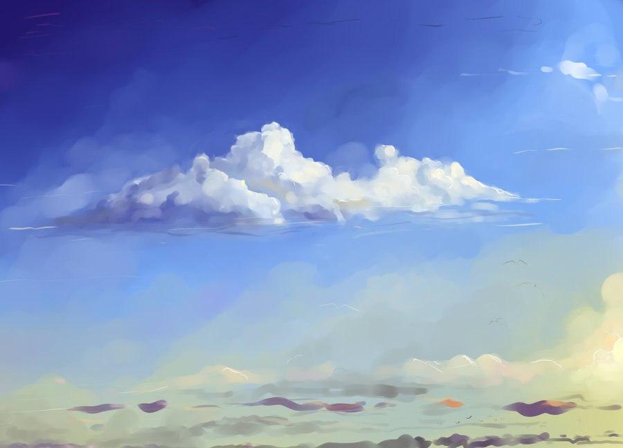 небо с облаками рисунок гуашью любители тихой