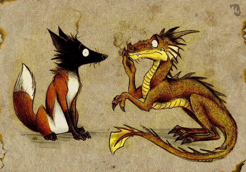 Фурри дракон и лис