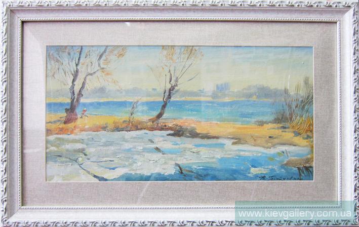 Весна на Оболони. 20 x 40 см, масло, 2012 г.
