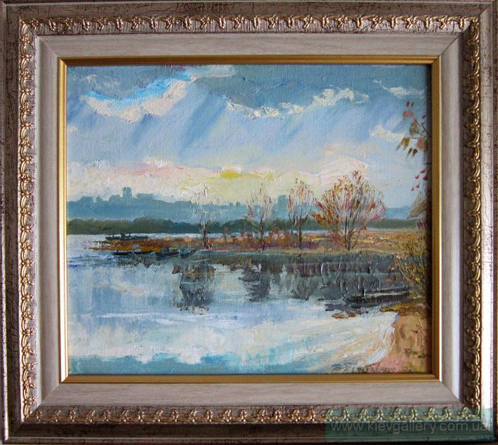 Осень на Оболонских заливах. 30 x 30 см, масло, 2009 г.