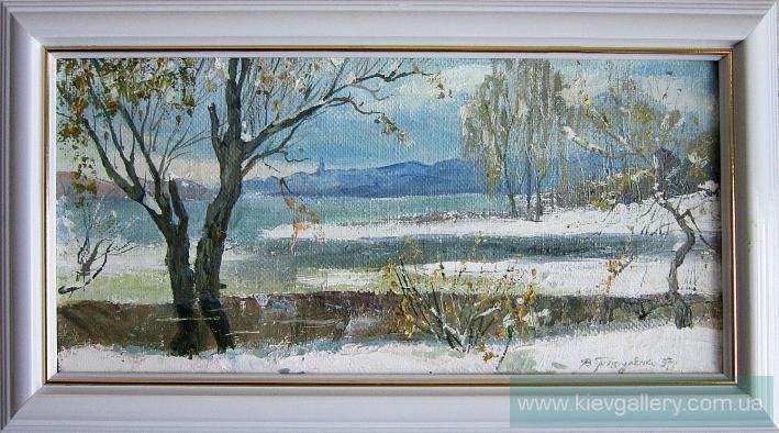Первый снег на Оболони. 30 x 40 см, масло, 2003 г.