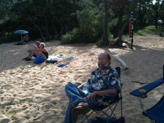 My father-in-law, Gary, at Maha'ulepu Beach, Kaua'i